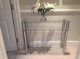 Three-tiered Glass console Table