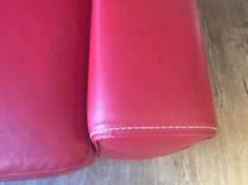 Red Leather Double Sofa Bed