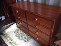 Pine double chest of drawers