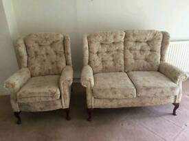 2 SEATER SOFA AND 3 CHAIRS