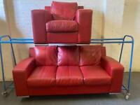 HARVEYS DARK RED LEATHER SOFA SET IN EXCELLENT CONDITION 3+1 seater