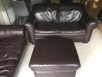 Brown leather sofa suite with footstool (three seater, two seater and footstool)