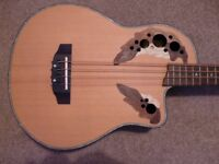 Electro-acoustic bass guitar with padded hard case