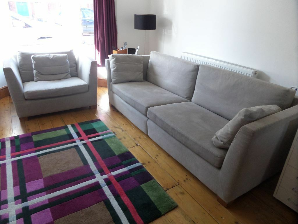 Ikea stockholm sofa and large armchair for sale in for Couches and sofas for sale