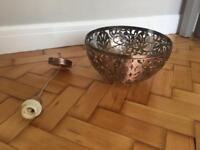 Copper lampshade and matching light cable fitting