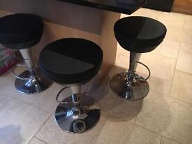 3 x leather bar stools