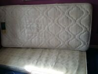 """Single mattress """" Rest Assured """" Soft. with Base (which needs 2 legs fixing)"""