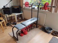 1980s Weider Bench, 4 Dumbbells, Selection of Weights