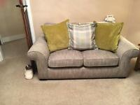 Grey fabric sofa - 2 seater, 3 seater & poof included.