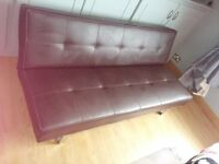 BROWN LEATHER CLICK-CLACK SOFA BED