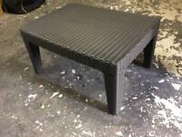 Black Plastic Rattan Effect Garden Patio Table