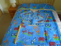 Childs bedroom curtains and bed cover set.