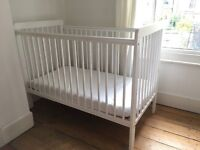 Cot, mattress, waterproof mattress protector and white fitted sheets for sale