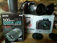 Canon eos 1000d with 500mm mirror lens