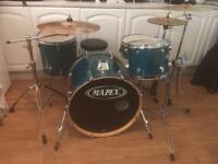 Mapex M Birch Blue Drum Set + Zildjian Cymbals, hardware, silencer pads and Stagg Carry Cases