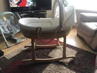 Mamas&papas moses basket with rocking stand