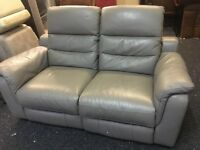 New/Ex Display lazyBoy Grey Leather 2 Seater Recliner Sofa