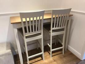 John Lewis bar table and matching chairs soft grey and oak