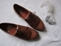 Ladies Golf shoes - Vintage Stylo Matchmakers 7864 tan leather golf shoes with removable spikes in