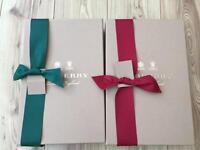 Empty Burberry Gift Box With Ribbon And Tag