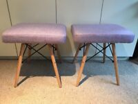 Two lovely lilac/purple fabric and wood dressing table stools. Good condition.