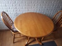 Round Folding Dining Table with 2 chairs