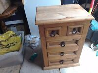 Lovely solid pine bedside table or small chest of drawers