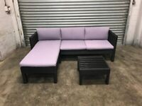 FREE DELIVERY BLACK GARDEN RATTAN L-SHAPED CORNER SOFA & GLASS TOP TABLE GOOD CONDITION
