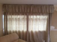Stone coloured 90 inch drop curtains and pelmet