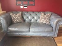 Dark Grey Shabby Chic 2 Seater Chesterfield Sofa