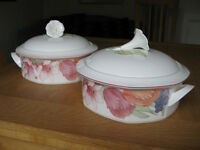 Vegetable Dishes. Bone China. Villeroy and Boch. Corolla Design. Excellent Condition