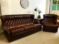 Vintage barrel back Chesterfield sofa. Armchair also available.