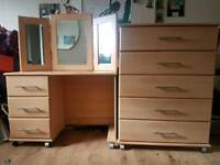 Set Of Draws and dressing table/desk with mirror