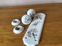 Porcelain door handles and finger plate