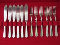 James Dixon & Sons Silver type Fish Cutlery Set, 6 knives & 6 forks, in good condition