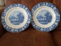 Two Matching Palissy Pottery 36cm Meat Plates