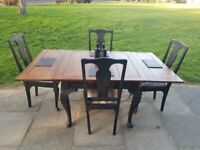 Vintage Oak draw leaf EXTENDING DINING TABLE + 4 Queen Anne CHAIRS shabby chic FREE LOCAL DELIVERY