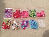 Buttons, packs of 50 assorted shape and size resin buttons