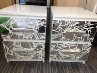 2x crushed glass mosaic bedside tables upcycled