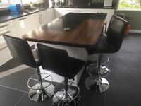 Four kitchen bar stools - brown leather/silver base