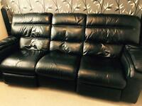3 seater electronic black leather reclining sofa.