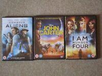 3 DVDs: 'Cowboys and Aliens', 'John Carter', 'I am Number Four'