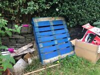 Free blue pallet and other offcuts of wood and shelving
