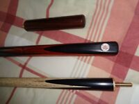 An as new Tiger Pyxus 3/4 ash & ebony cue with new Tiger case & mini butt.