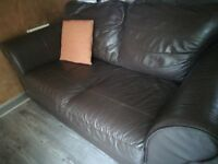 SOFA from NEXT LEATHER IN CHOCOLATE BROWN