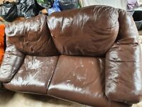 3 seater and 2 seater Brown Leather Sofa