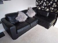 Black leather 3 seater corner sofa and 2 seater sofa. Immediate sale.