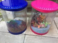 X 2 fish tanks with water pump and gravel