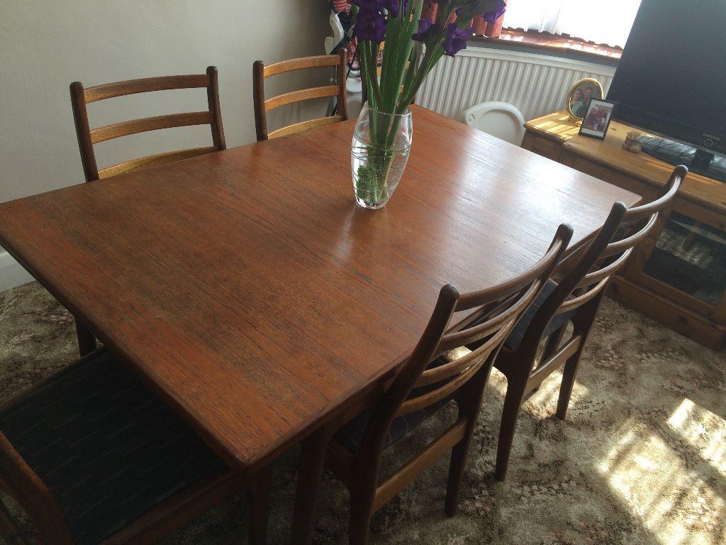 G plan design teak dining room extending table and four for G plan teak dining room chairs