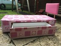 Child's single pink divan bed base & headboard